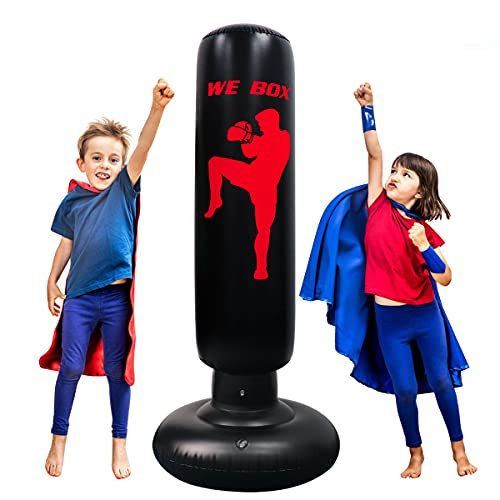 Kids Punching Bag, Punching Dummy Anger Bag 63inch Free Standing Boxing Bag Punching Bag with Stand for Practicing…