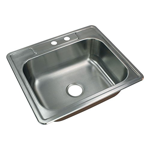 Transolid CTSB25228-MR2 Classic Stainless Steel 2-Hole Drop-In Single Bowl Kitchen Sink 22 1/64