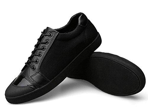 SYYAN Hombres Cuero Tela De Malla Secado Rápido Bajo Hecho A Mano Moda Zapatillas Al Aire Libre Ocio Black