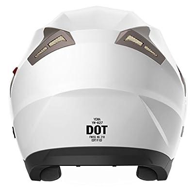 Motorcycle Open Face Helmet DOT Approved - YEMA YM-627 Motorbike Moped Jet Bobber Pilot Crash Chopper 3/4 Half Helmet with Sun Visor for Adult Men Women - White,Large: Automotive