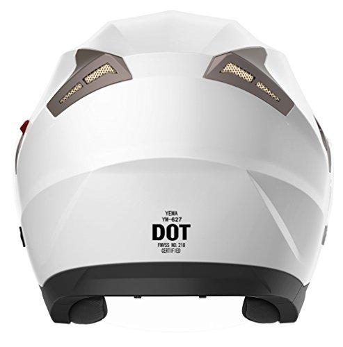 Motorcycle Open Face Helmet DOT Approved - YEMA YM-627 Motorbike Moped Jet Bobber Pilot Crash Chopper 3/4 Half Helmet with Sun Visor for Adult Men Women - White,Medium