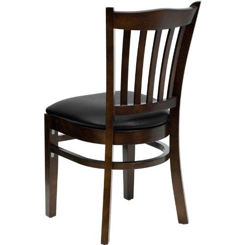Flash Furniture HERCULES Series Vertical Slat Back Walnut Wood Restaurant Chair - Black Vinyl Seat