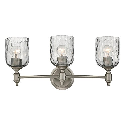 Westinghouse 6326400 Basset Three-Light Indoor Wall Fixture, Dark Pewter Finish with Smoke Grey Hammered Glass, 3