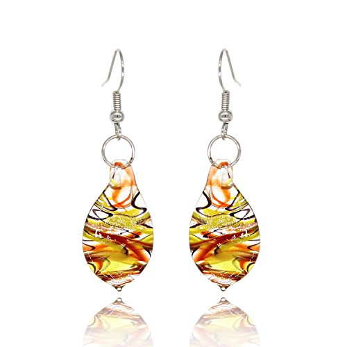 BeSheek Handmade Jewelry Murano Inspired Glass Fire, Blue and Yellow Teardrop Fashion (Drop Glass Dangling Earrings)
