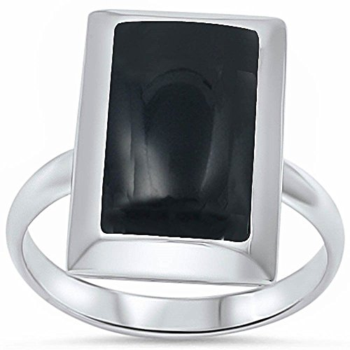 lack Onyx Solitaire Wedding Ring Solid 925 Sterling Silver ()