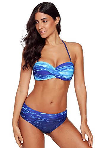 Tie Dye Two Piece Bikini - LOSRLY Women Halter Gradient Print Ombre Twist Bandeau Push up Bikini Set Two Pieces Swimsuits-X-Blue L 12 14