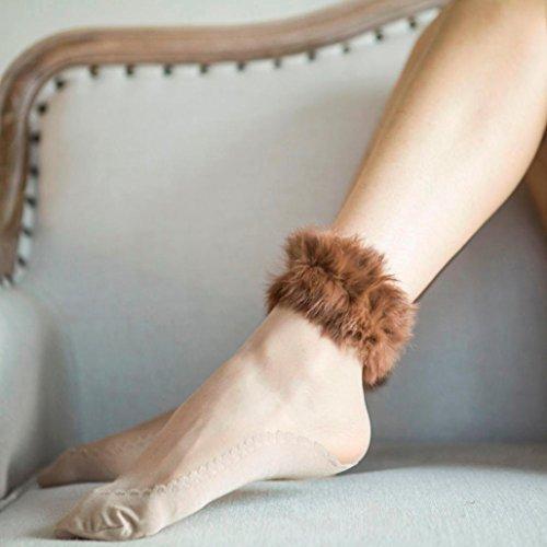 Inkach Trendy Femmes Courtes Chaussettes Filles Ultrathin Cristal Transparent Élastique Fausse Fourrure Chaussettes Marron