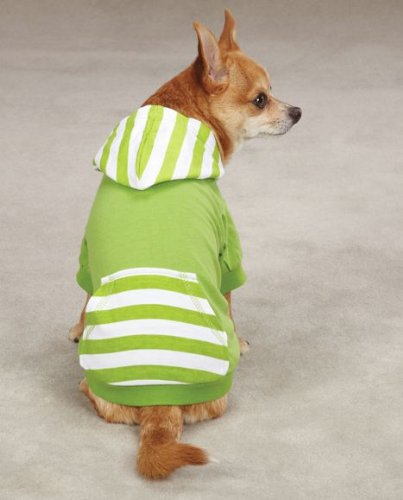 East Side Collection Polyester/Cotton Brite Stripe Dog Pullover, XX-Small, 8-Inch, Parrot Green
