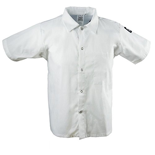 Chef Revival CS006WH 24/7 Poly Cotton Blend Short Sleeve Unisex Cook Shirt with Snap Closure Bottons, X-Large, White (Revival Chef Clothing)
