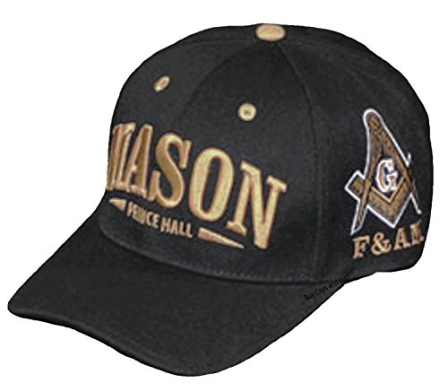 Prince Embroidered Hat - Prince Hall Mason Baseball Cap Masonic Hat Embroidered Black Gold F&AM