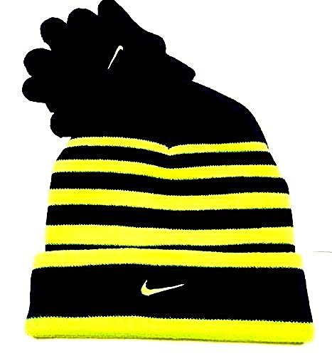 Nike Swoosh Cuff Style Striped Knit Beanie Skull Cap & Gloves Set Boys 4/7