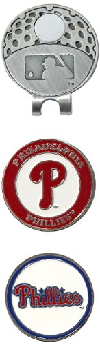 Team Golf MLB Philadelphia Phillies Golf Cap Clip with 2 Removable Double-Sided Enamel Magnetic Ball Markers, Attaches Easily to Hats