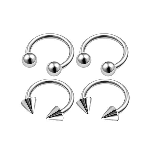 Cone Ring Horseshoe - 4Pcs Surgical Steel 18 Gauge 1/4 6mm Horseshoe Earrings for Girls Piercing Jewelry Lip Nose Septum Tragus 3mm Ball Cone M4920