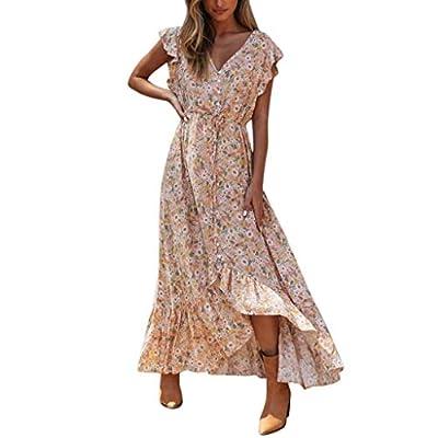 Muranba Womens Dresses Sexy Sleeveless Floral Print V Neck Split Ruffle Blackless Long Dress