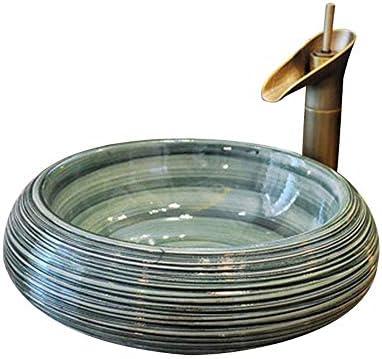 カウンタートップ洗面器の洗面台のバスルームセラミック洗面器、丸い光沢カウンタートップ洗面器のセラミック、コンパクトなセラミック洗面器43X15 cm(蛇口は含まれていません)