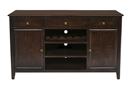 New Classic Edgemont Entertainment Console/Server, Distressed Walnut (Dining Room Walnut Armoire)