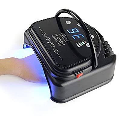 iBelieve LCD Display-Infrared Hand Sensor-Four Timer Setting-Potable Handle Design-Cordless Rechargeable Nail Lamp Curing LED Gel Nail Polish, 64W LED Nail Lamp Dryer with Smart Sensor