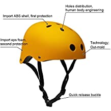 Adult Skateboard Helmet 11-Vents Adjustable Straps Protective Skiing Skate Bike Cycling Helmet Multi Color with Liner for Bicycle Skateboard Outdoor Sports Size Large Yellow