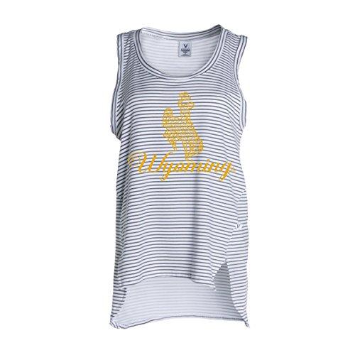 - Official NCAA University of Wyoming Cowboys Fight Pistol Pete Women's Stripe Ath Lesiure Tank Top