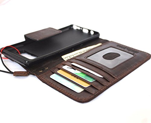 Genuine Leather Case for Samsung Galaxy Note 8 Book Wallet magnetic closure cover brown Handmade Retro Luxury cards slots Daviscase