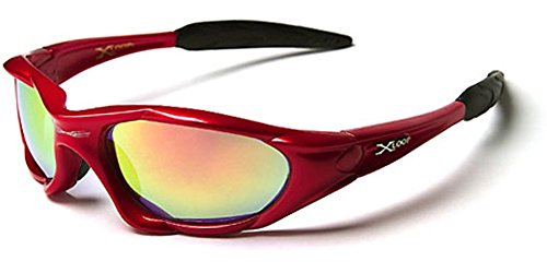 X-Loop Wrap Around Mens Sport Sunglasses - Red with Fire - Sport Around Wrap Sunglasses