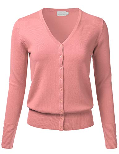 FLORIA Women's Button Down V-Neck Long Sleeve Soft Knit Cardigan Sweater Peach M
