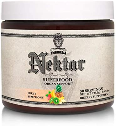 Ambrosia Nektar – Superfood Powder Complete Health Supplement Organ Support – Liver, Heart, Kidney Health 30 Servings Fruit Symphony