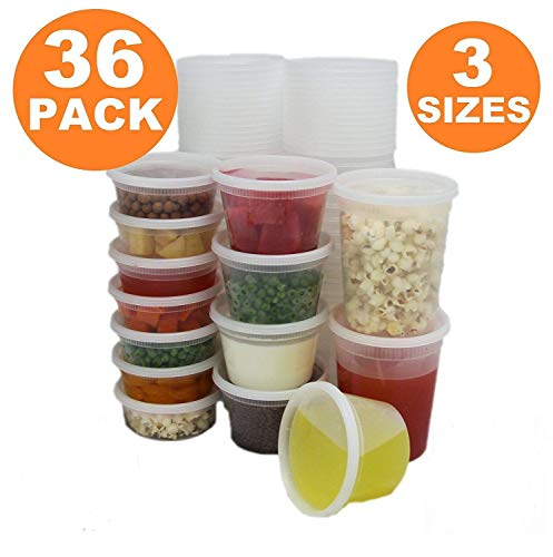 Elite Settings Food Storage Container - Plastic Soup/Food Container with lids - Set of 24 (Combo Pack)