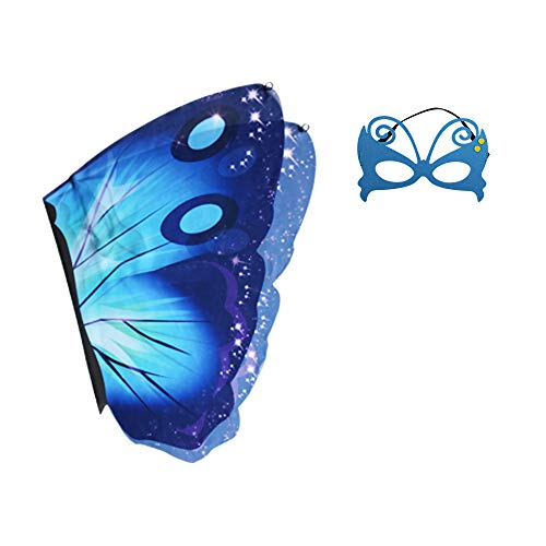 Halloween Fancy Dress Escape (LAMOGALL Kids Butterfly Wings Costume Mask for Halloween Dress Up Party (Blue Butterfly,)