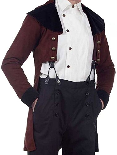 Baker Man Costume (Baker Street Steampunk Victorian or Regency Tailcoat - Chocolate Brown and Black - Size Medium)