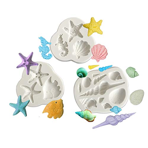 Set of 3 Underwater World Tropical Fish Seahorse Starfish Scallop Conch Silicone Fondant Cake Molds Chocolate Making Moulds Baking Tools for Candy, Clay, Chocolate