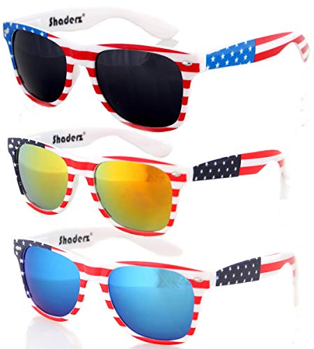 American USA Flag Retro 80's Sunglasses Classic America Patriotic Classic Sunglasses Eyewear Combo of 3 by Shaderz -