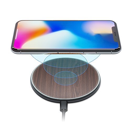- iPhone X/8 Qi Best Wireless Charger Pad Kit by Wuteku New 2018 Upgraded | Stylish Natural Bamboo Wood Look Thin Slim Design | Compatible Samsung and Apple Enabled Devices | Sleep Charging Friendly DB