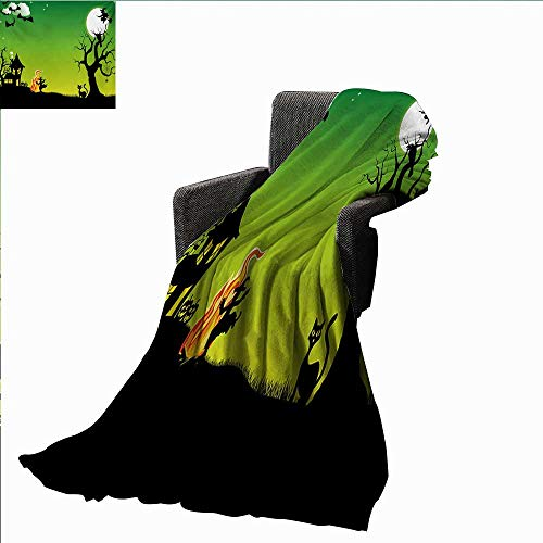 Halloween Weave Pattern Extra Long Blanket Witches Dancing with Fire and Flying at Halloween Ancient Western Horror Image,Super Soft and Comfortable,Suitable for Sofas,Chairs,beds]()