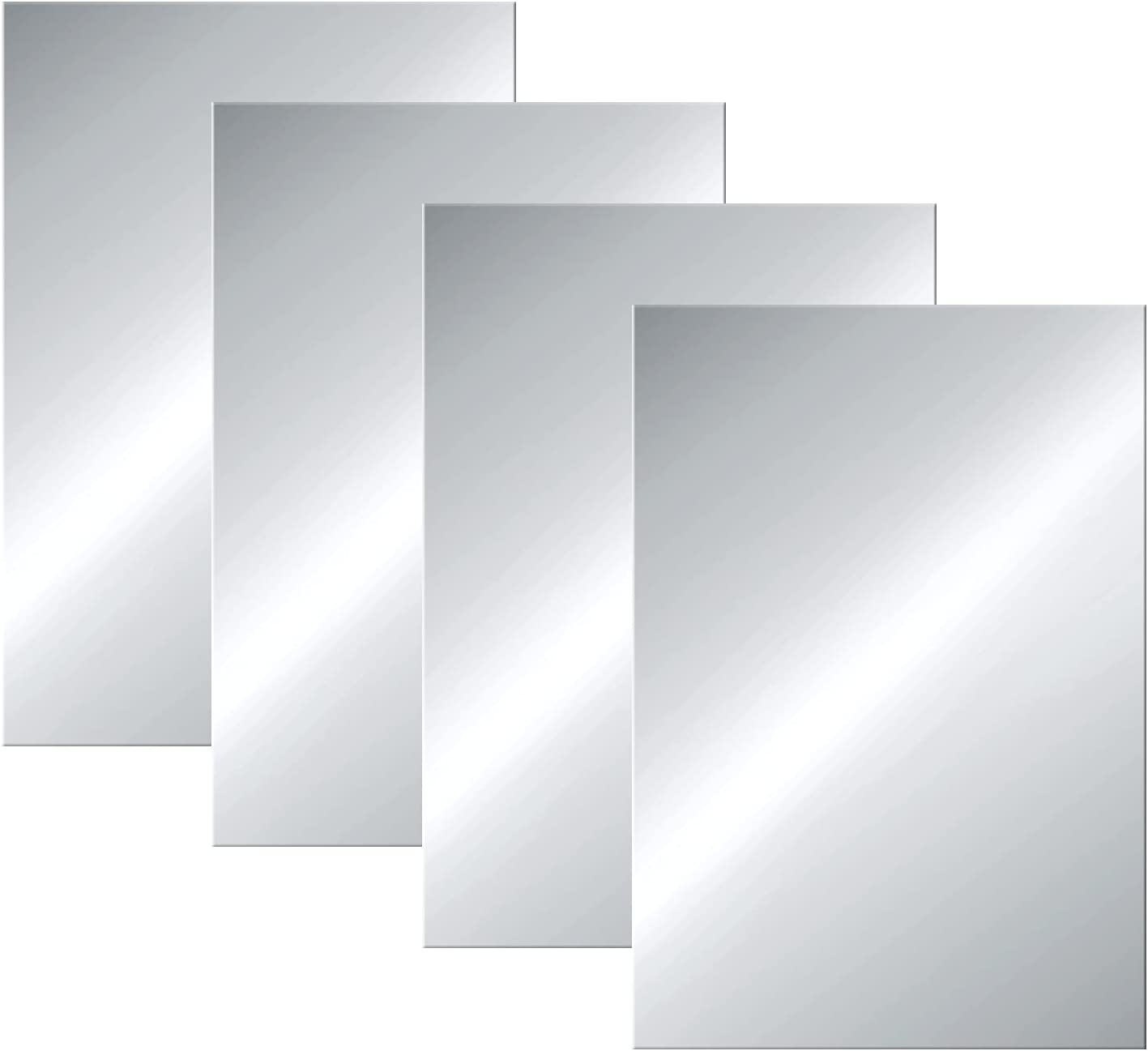 Flexible Mirror Sheets 6 x 9 Inches Self Adhesive Non Glass Cut to Size Mirror Sheets 4 Pieces Fun House Mirror Tiles for Home Wall Decor Easy to Cut Mirror Stickers