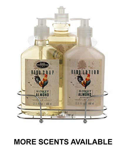 Liquid Soap & Lotion Kitchen Caddy: Tri Coastal Design Silver Wire Sink Basket Set - Honey Almond Dish Soap, Hand Soap, and Lotion - 13.5 Fluid Ounces