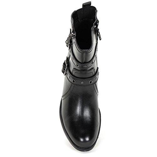 ALESYA by Scarpe&Scarpe - Botines bajos con doble hebilla y cremallera, de Piel, con Tacones 4 cm Negro