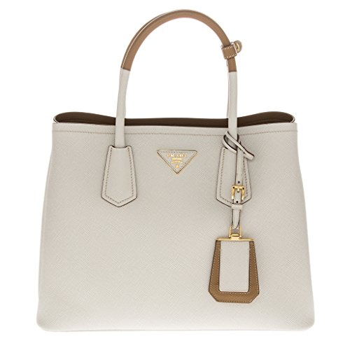 Prada Women's Saffiano Cuir Medium Double Bag Ivory + Nude
