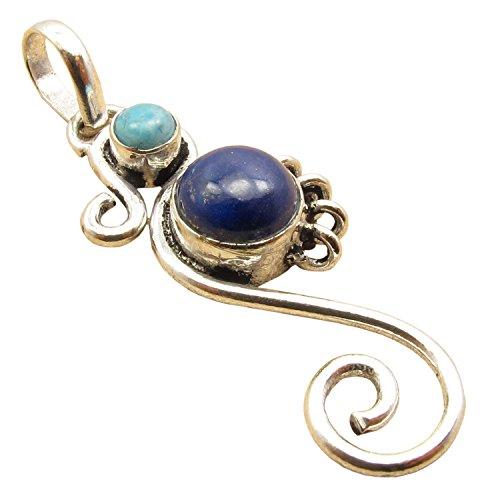 - 925 Silver Overlay LARIMAR & LAPIS LAZULI 2 Stone TWISTED WIRE Designer Seahorse Pendant