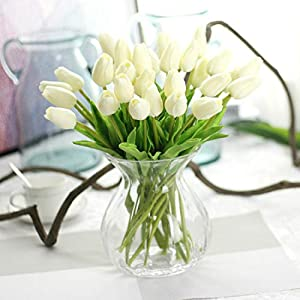 Emivery 10 Pieces Premium Artificial Flowers Real Touch Mini PU Tulips Bouquet Artificial Plants for Wedding Room Home Hotel Party Event Christmas Decor (Cream White) 71