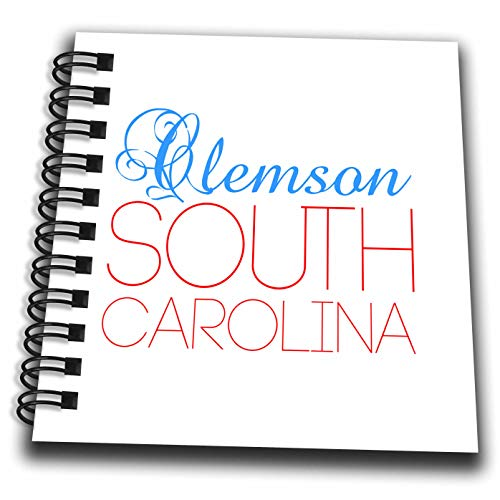 (3dRose Alexis Design - American Cities South Carolina - Clemson South Carolina Blue, red Text. Patriotic Home Town Design - Mini Notepad 4 x 4 inch (db_303183_3) )