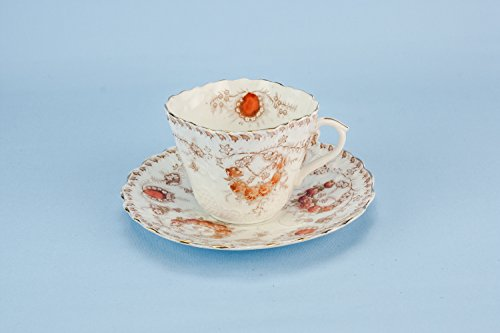 Small Antique Bone China Cup Saucer TEACUP Floral Flamboyant Red Gift Art Nouveau Combine Unique English Circa 1900 LS