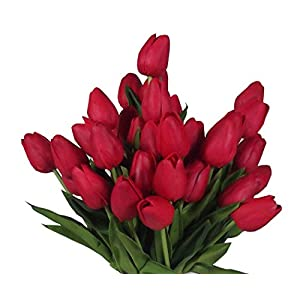 20 Heads Home Deocr Mini Tulip Real Touch Tulip Artificial Flowers Bouquets 3
