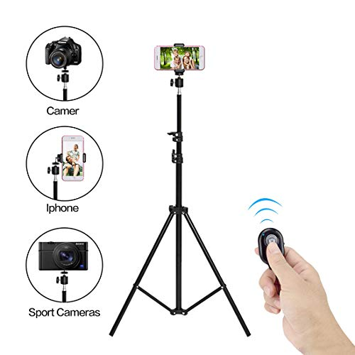 Professional Selfie Stick Tripod 62 Inch Extendable Camera Tripodwith Wireless Remote and 360° Panorama Ball Head for Phone with Phone Clip for iPhone Xs, Samsung, Tripod for Camera, Mirrorless DSLR