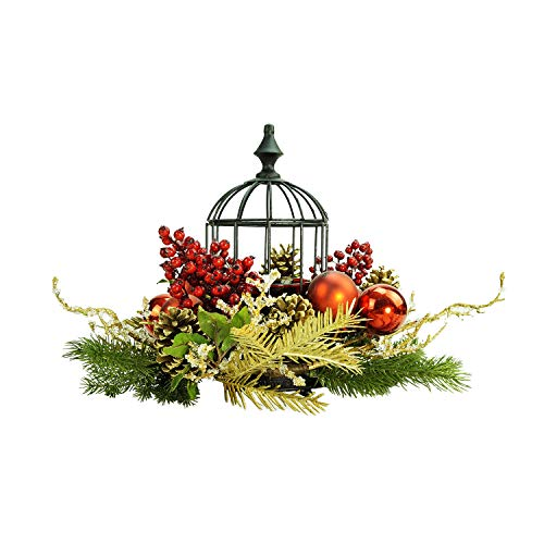 Northlight Berry/Pine Cone Hurricane Glass in Birdcage Christmas Pillar Candle Holder, 13