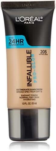 L'Oreal Paris Cosmetics Infallible Pro-Glow Foundation, Natural Beige, 1 Fluid Ounce