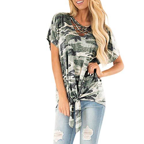 Amlaiworld Women Plus Size Shirt O-Neck Printing Short Sleeve T-Shirts Easy Tops Blouses Summer Lightwear Tunic Shirt Camouflage ()