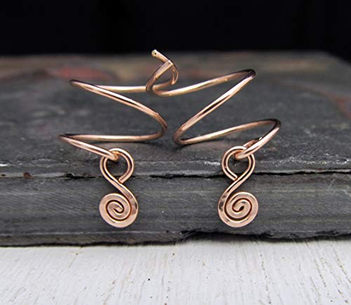 14/20 Rose Gold Filled Double Piercing Earrings with Spiral Charm (Charm Hoop Double)
