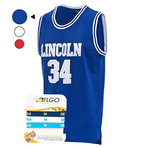 AFLGO Jesus Shuttlesworth 34 Lincoln High School Basketball Jersey Include Set Wristbands S-XXL (Blue, M/48)