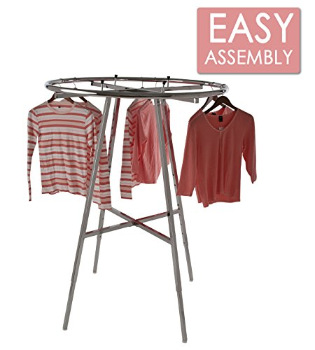 "Round Garment Racks - Econoco Display Rack Round – Round Folding Rack, 42"" Diameter Folding Round Clothes Rack, Folding Round Garment Rack, Folding Display Rack, Chrome"